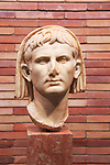 Head of Emperor Augustus, Museo Nacional de Arte Romano, national museum of Roman art, Merida, Extremadura, Spain