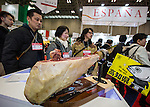 March 3, 2015, Chiba, Japan - A picture released on March 4, 2015 shows cured ham on display at the Spain booth during the 40th annual International Food and Beverage Exhibition (FOODEX JAPAN 2015). Some 2,977 exhibitors from 79 nations participate in what is known to be the largest food and beverage exhibition in Asia. 75,000 buyers which include wholesalers, food service companies, and distributors are expected to attend FOODEX which runs from March 3-6. (Photo by AFLO)