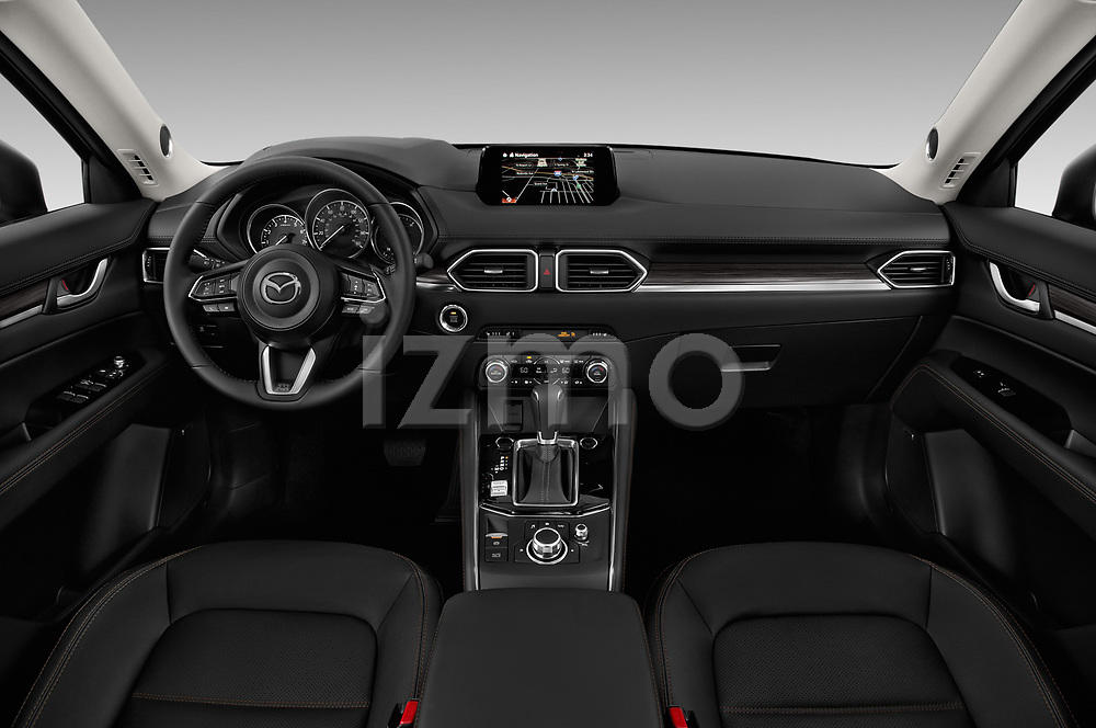 Stock photo of straight dashboard view of 2017 Mazda CX-5 Grand-Touring 5 Door SUV Dashboard