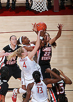 STANFORD, CA - January 7, 2012: Stanford Cardinal's Nnemkadi Ogwumike and Taylor Greenfield during Stanford's 67-60 victory over Oregon State at Maples Pavilion in Stanford, California.
