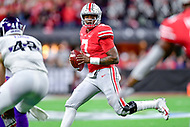 Indianapolis, IN - DEC 1, 2018: Ohio State Buckeyes quarterback Dwayne Haskins (7) looks down field to pass during second half action of the Big Ten Championship game between Northwestern and Ohio State at Lucas Oil Stadium in Indianapolis, IN. Ohio State defeated Northwestern 45-24. (Photo by Phillip Peters/Media Images International)