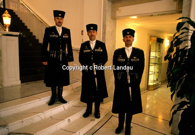 King Abdullah II's  Royal Guard stands by at the Royal Pallace in Aman, Jordan