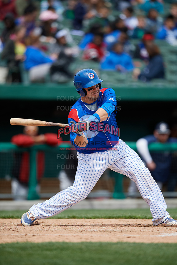 South Bend Cubs catcher Tyler Payne (45) at bat during a game against the Kane County Cougars on May 3, 2017 at Four Winds Field in South Bend, Indiana.  South Bend defeated Kane County 6-2.  (Mike Janes/Four Seam Images)