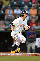 Bradenton Marauders outfielder Austin Meadows (13) at bat during a game against the St. Lucie Mets on April 11, 2015 at McKechnie Field in Bradenton, Florida.  St. Lucie defeated Bradenton 3-2.  (Mike Janes/Four Seam Images)