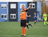 20191123 – BRUGGE, BELGIUM : referee Lois Otte pictured during a women soccer game between Dames Club Brugge and K AA Gent Ladies on the ninth matchday of the Belgian Superleague season 2019-2020 , the Belgian women's football  top division , saturday 23 th November 2019 at the Jan Breydelstadium – terrain 4  in Brugge  , Belgium  .  PHOTO SPORTPIX.BE | DAVID CATRY