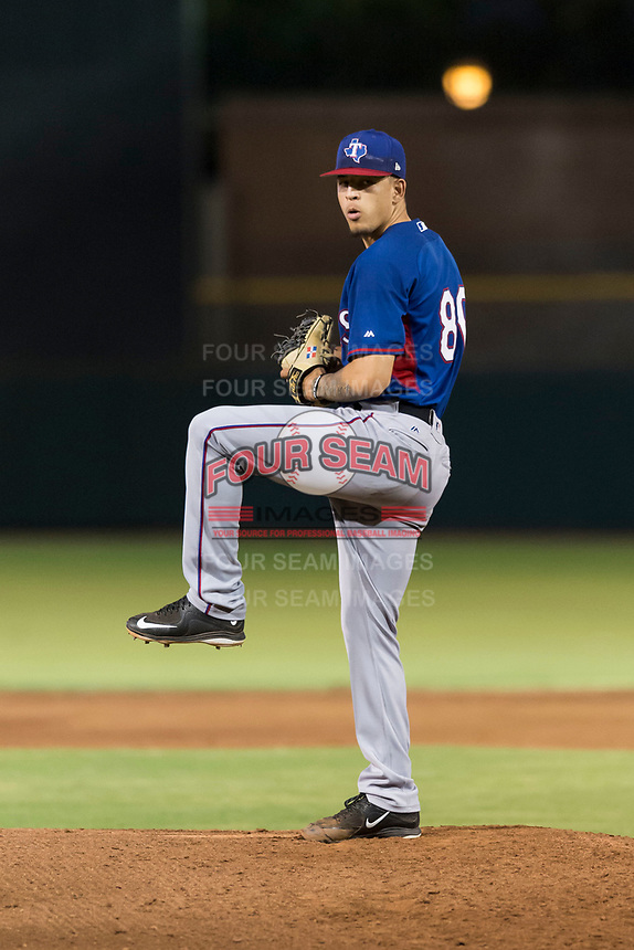 AZL Rangers starting pitcher Yerry Rodriguez (80) delivers a pitch during an Arizona League game against the AZL Giants Black at Scottsdale Stadium on August 4, 2018 in Scottsdale, Arizona. The AZL Giants Black defeated the AZL Rangers by a score of 6-3 in the second game of a doubleheader. (Zachary Lucy/Four Seam Images)