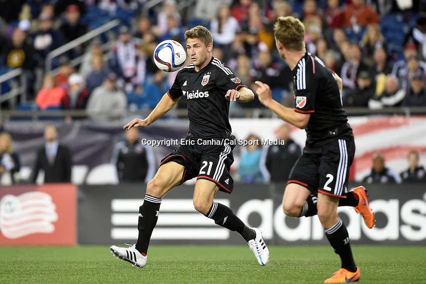 May 23, 2015 - Foxborough, Massachusetts, U.S. - D.C. United's Facundo Coria (21)plays the ball during the MLS game between DC United and the New England Revolution held at Gillette Stadium in Foxborough Massachusetts. The New England Revolution and D.C. United ended the game tied 1-1.  Eric Canha/CSM