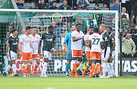 Blackpool's Curtis Tilt attempts to call down Marc Bola after an altercation with Donervon Daniels<br /> <br /> Photographer Kevin Barnes/CameraSport<br /> <br /> The EFL Sky Bet League One - Plymouth Argyle v Blackpool - Saturday 15th September 2018 - Home Park - Plymouth<br /> <br /> World Copyright &copy; 2018 CameraSport. All rights reserved. 43 Linden Ave. Countesthorpe. Leicester. England. LE8 5PG - Tel: +44 (0) 116 277 4147 - admin@camerasport.com - www.camerasport.com