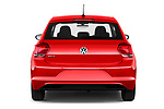 Straight rear view of a 2018 Volkswagen Polo High Line 5 Door Hatchback stock images