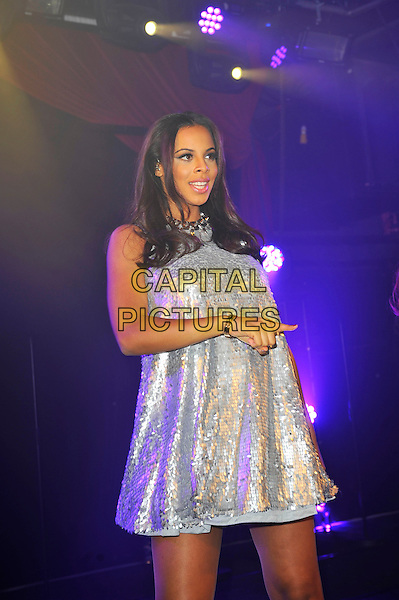 The Saturdays  - Rochelle Humes (nee Wiseman).The Saturdays performing at G-A-Y, Heaven Night Club, London, England, UK, 23rd March 2013..half length music gig live on stage band girl group microphone silver dress .CAP/MAR.© Martin Harris/Capital Pictures.