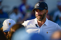 Mike Weir (CAN) chats on 16 during round 1 foursomes of the 2017 President's Cup, Liberty National Golf Club, Jersey City, New Jersey, USA. 9/28/2017.<br /> Picture: Golffile   Ken Murray<br /> ll photo usage must carry mandatory copyright credit (&copy; Golffile   Ken Murray)