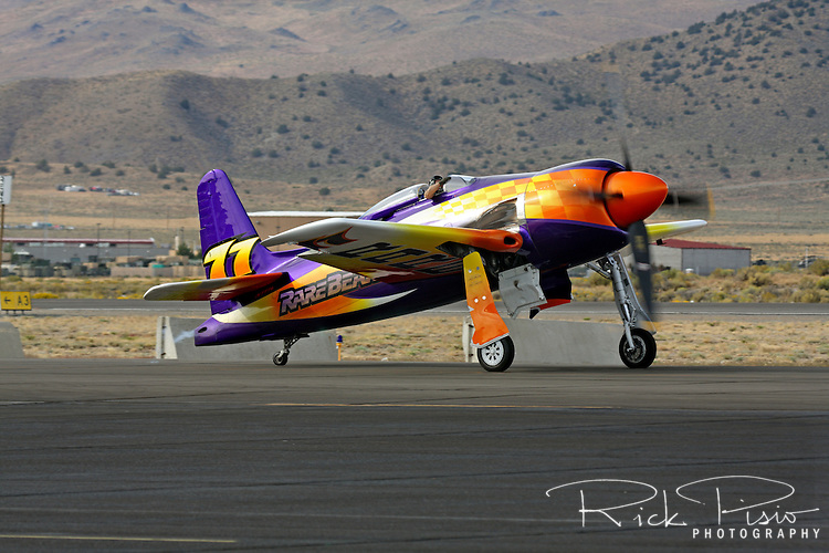 Rare Bear, piloted by John Penney, taxies after a heat race during the 2010 Reno National Championship Air Races.