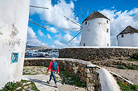 Two women traveling explore the Greek Island of Mykonos