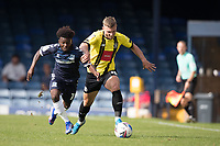 Jack Muldoon, Harrogate Town,  under pressure from Terrell Egbri, Southend United, during Southend United vs Harrogate Town, Sky Bet EFL League 2 Football at Roots Hall on 12th September 2020