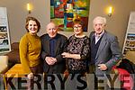 Noreen Weir (Kilflynn), John Flaherty (Abbeydorney), Patricia McElligott (Killflynn) and Tadgh O'Hanlon (Ballyduff) attending the Kilflynn/Abbeydorney Active Christmas Party in the Ballroe Heights Hotel on Dunday.