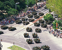 aerial photograph of military tanks on  La Reforma participating in the Independence Day Parade, Mexico City