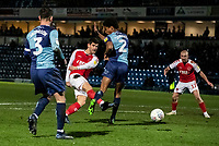 Fleetwood Town's Ched Evans (centre) shoots at goal under pressure from  Wycombe Wanderers' Sido Jombati (right)  <br /> <br /> Photographer Andrew Kearns/CameraSport<br /> <br /> The EFL Sky Bet League One - Wycombe Wanderers v Fleetwood Town - Tuesday 11th February 2020 - Adams Park - Wycombe<br /> <br /> World Copyright © 2020 CameraSport. All rights reserved. 43 Linden Ave. Countesthorpe. Leicester. England. LE8 5PG - Tel: +44 (0) 116 277 4147 - admin@camerasport.com - www.camerasport.com