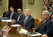 "United States President Donald Trump meets with representatives from PhRMA, the Pharmaceutical Research and Manufacturers of America in the in the Roosevelt Room of the White House in Washington, DC on Tuesday, January 31, 2017.  According to its website PhRMA ""represents the country's leading biopharmaceutical researchers and biotechnology companies.""   From left to right: Josh Pitcock, Chief of Staff to the Vice President; Stephen Ubl, President and CEO, PhARMA; Kenneth C. Frazier, Chairman and CEO of Merck & Co; the President; and Robert J. Hugin, Executive Chairman, Celgene Corporation.<br /> Credit: Ron Sachs / Pool via CNP"