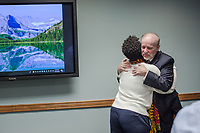 Blaine Hall, Physician Assistant/founding provider of the Duke Department of Endocrinology Gender Medicine Clinic, hugs Dr. Lamercie M. Saint Hillaire, MD (CQ) of Duke Community &amp; Family Medicine after his talk about transgender issues in medicine. <br /> <br /> Background: About 35 years ago, Blaine underwent gender reassignment surgery before his medical career began, which led him to start the Gender Medicine Clinic. The clinic provides gender-affirming hormone therapy to help transgender adults achieve the changes they seek.in Durham, North Carolina Tuesday, October 23, 2018. (Justin Cook)