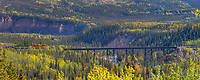 Panorama of Alaska Railroad train trestle, Denali National Park, Interior, Alaska.