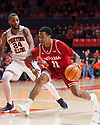 Jan 24, 2018; Champaign, IL, USA; Indiana Hoosiers guard Devonte Green (11) drives to the basket defended by Illinois Fighting Illini guard Mark Alstork (24) during the second half at State Farm Center. Mandatory Credit: Mike Granse-USA TODAY Sports