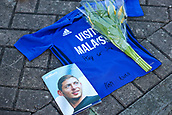 2nd February 2019, Cardiff City Stadium, Cardiff, Wales; EPL Premier League football, Cardiff City versus AFC Bournemouth;  Todays match programme featuring a memorial of Emiliano Sala with a Cardiff City shirt and flowers