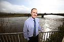Date 15/03/2019 - SPECIAL TO GO WITH OWEN BOWCOTT STORY - Border Brexit -  Robert Wilson, Pharmacists stands with the River Foyle behind him in the border town of Lifford, County Donegal, Ireland. Photo/Paul McErlane