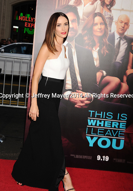 HOLLYWOOD, CA- SEPTEMBER 15: Actress Abigail Spencer arrives at the 'This Is Where I Leave You' - Los Angeles Premiere at TCL Chinese Theatre on September 15, 2014 in Hollywood, California.