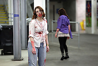 Pictured: Zombies at the Cardiff City football stadium. Saturday 29 March 2014<br />
