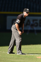 Umpire Junior Valentine during an Instructional League game between the Oakland Athletics and Arizona Diamondbacks on October 10, 2014 at Chase Field in Phoenix, Arizona.  (Mike Janes/Four Seam Images)