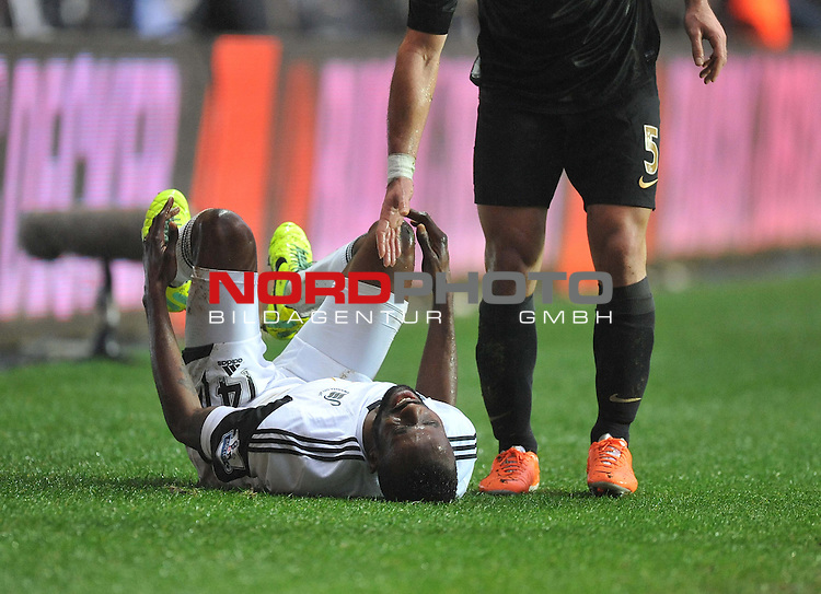 Swansea City's Roland Lamah is in a lot of pain after the tackle on him from Manchester City's Pablo Zabaleta -  01/01/2014 - SPORT - FOOTBALL - Liberty Stadium - Swansea - Swansea City v Manchester City - Barclays Premier League<br /> Foto nph / Meredith<br /> <br /> ***** OUT OF UK *****
