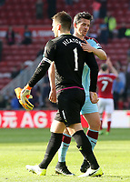 Burnley's Tom Heaton is embraced by Joey Barton at the final whistle<br /> <br /> Photographer David Shipman/CameraSport<br /> <br /> The Premier League - Middlesbrough v Burnley - Saturday 8th April 2017 - Riverside Stadium - Middlesbrough<br /> <br /> World Copyright &copy; 2017 CameraSport. All rights reserved. 43 Linden Ave. Countesthorpe. Leicester. England. LE8 5PG - Tel: +44 (0) 116 277 4147 - admin@camerasport.com - www.camerasport.com