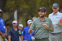 Alexander Levy (FRA) waves to the crowd as he eats a sandwich while departing the 10th tee during day 3 of the World Golf Championships, Dell Match Play, Austin Country Club, Austin, Texas. 3/23/2018.<br /> Picture: Golffile | Ken Murray<br /> <br /> <br /> All photo usage must carry mandatory copyright credit (&copy; Golffile | Ken Murray)