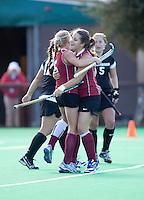 STANFORD, CA -- November 4, 2011: Courtney Haldeman and Alex McCawley celebrate during the Stanford vs. Davidson on the second day of 2011 NorPac Championship Friday on the Varsity Turf at Stanford.<br /> <br /> The Cardinal defeated the Wildcats 7-2.