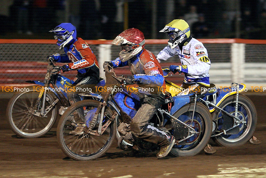 Heat 12: Adam Shields (red), Lubos Tomicek (blue) and Tobias Kroner - Lakeside Hammers vs Ipswich Witches - Craven Shield Speedway at Arena Essex Raceway - 21/03/08 - MANDATORY CREDIT: Gavin Ellis/TGSPHOTO - Self billing applies where appropriate - Tel: 0845 094 6026