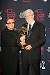 BEVERLY HILLS - JUN 16: Carrie Fisher, George Lucas with the Outstanding Special Class Animated Program award for 'Star Wars: The Clone Wars' at the 40th Annual Daytime Emmy Awards at The Beverly Hilton Hotel on June 16, 2013 in Beverly Hills, California