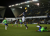 9th February 2018, The Den, London, England; EFL Championship football, Millwall versus Cardiff City; Steve Morison of Millwall mistimes a header from a cross