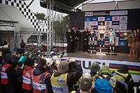 Elite Women's podium:<br /> 1/ Thalita Dejong (NLD)<br /> 2/ Caroline Mani (FRA)<br /> 3/ Sanne Cant (BEL)<br /> <br /> UCI 2016 cyclocross World Championships