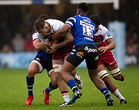 Northampton Saints' Teimana Harrison is tackled by Bath Rugby's Aled Brew<br /> <br /> Photographer Bob Bradford/CameraSport<br /> <br /> Gallagher Premiership - Bath Rugby v Northampton Saints - Saturday 22 September 2018 - The Recreation Ground - Bath<br /> <br /> World Copyright &copy; 2018 CameraSport. All rights reserved. 43 Linden Ave. Countesthorpe. Leicester. England. LE8 5PG - Tel: +44 (0) 116 277 4147 - admin@camerasport.com - www.camerasport.com