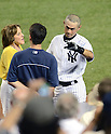 Ichiro Suzuki (Yankees),<br /> JUNE 25, 2013 - MLB :<br /> Ichiro Suzuki of the New York Yankees is interviewed with his interpreter Allen Turner (C) after hitting a walk off home run in the ninth inning of the Major League Baseball game against the Texas Rangers at Yankee Stadium in The Bronx, New York, United States. (Photo by AFLO)