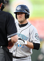 Syracuse Chiefs Second Baseman Eric Bruntlett during a game vs. the Rochester Red Wings at Frontier Field in Rochester, New York May 19, 2010.   Syracuse defeated Rochester by the score of 5-1.  Photo By Mike Janes/Four Seam Images
