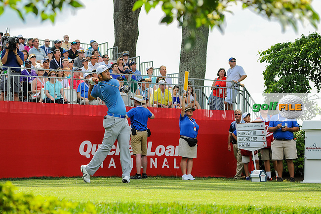 Jon Rahm (ESP) watches his tee shot on 1 during round 2 of the 2016 Quicken Loans National, Congressional Country Club, Bethesda, Maryland, USA. 6/24/2016.<br /> Picture: Golffile | Ken Murray<br /> <br /> <br /> All photo usage must carry mandatory copyright credit (&copy; Golffile | Ken Murray)