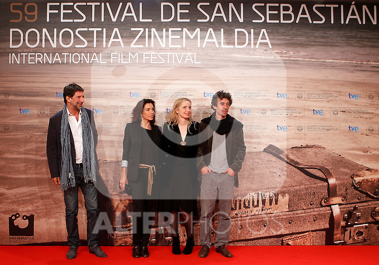 The actress Julie Delpy (2r) and Aure  Atika (2l), the actor Eric Elmosnino (r) and the Producer Michael Gentile (l) during the 59th San Sebastian Donostia International Film Festival - Zinemaldia.September 20,2011.(ALTERPHOTOS/ALFAQUI/Acero)