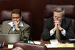 Nevada Sens. Pat Spearman, D-Las Vegas, and Greg Brower, R-Reno, work in committee at the Legislative Building in Carson City, Nev., on Wednesday, March 18, 2015. <br /> Photo by Cathleen Allison
