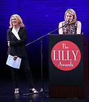 Carole Rothman and Celia Keenan-Bolger on stage during the 9th Annual LILLY Awards at the Minetta Lane Theatre on May 21,2018 in New York City.