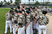 Slippery Rock team huddle before a game against the Kentucky Wesleyan Panthers on March 9, 2015 at Jack Russell Stadium in Clearwater, Florida.  Kentucky Wesleyan defeated Slippery Rock 5-4.  (Mike Janes/Four Seam Images)