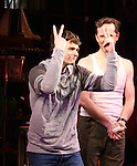 Brandon Flynn, Jeffry Denman during the opening night performance curtain call for the Vineyard Theatre's 'Kid Victory' at the Vineyard Theatre on February 22, 2017 in New York City.