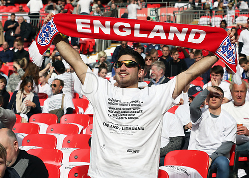 March 26th 2017, Wembley Stadium, London, England; World Cup 2018 Qualification football, England versus Lithuania; England fan with England scarf and custom made England versus Lithuania t shirt