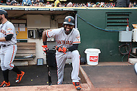 OAKLAND, CA - JUNE 29:  Denard Span #2 of the San Francisco Giants stands in the dugout before the game against the Oakland Athletics at the Oakland Coliseum on Wednesday, June 29, 2016 in Oakland, California. Photo by Brad Mangin