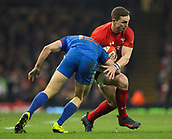 17th March 2018, Principality Stadium, Cardiff, Wales; NatWest Six Nations rugby, Wales versus France; George North of Wales is tackled by Geoffrey Doumayrou of France
